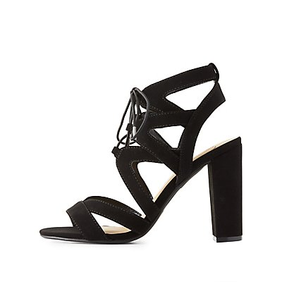Caged Lace-Up Chunky Heel Sandals