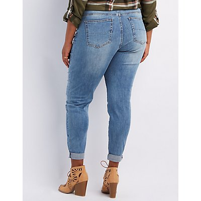Plus Size Refuge Boyfriend Destroyed Jeans