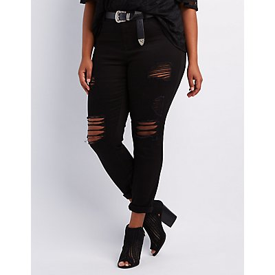 Plus Size Skinny Jeans: High-Waisted & Ripped   Charlotte Russe