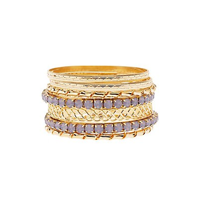 Textured Bangle Bracelets - 7 Pack