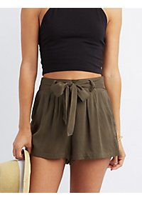 Tie-Front Woven Shorts