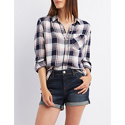 Roll Tab Plaid Button-Up Shirt