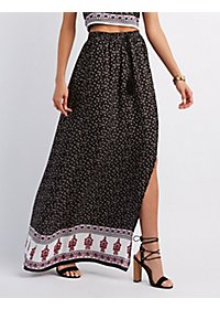 Border Print Drawstring Maxi Skirt