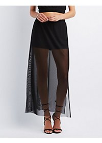 Side Slit Mesh Maxi Skirt