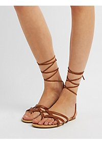 Strappy Lace-Up Thong Sandals