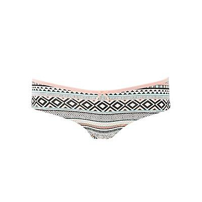 Printed Lace-Back Cheeky Panties