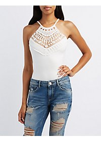 Crochet Bib Neck Bodysuit