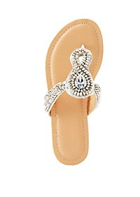 Rhinestone & Gem Thong Sandals