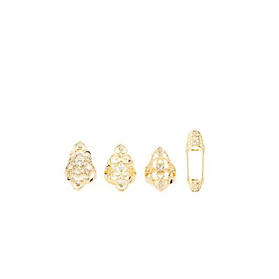 Rhinestone & Filigree Statement Rings - 4 Pack