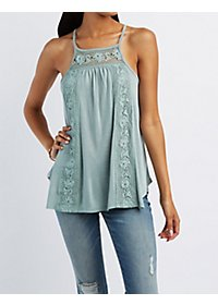 Crochet-Trim Tunic Tank