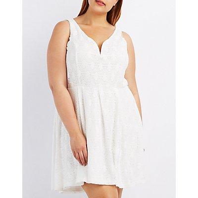 Plus Size Lace Sleeveless Skater Dress