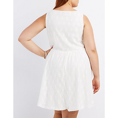 Plus Size Lace Sleeveless Skater Dress