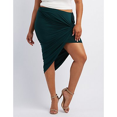 Plus Size Knotted Asymmetrical Skirt