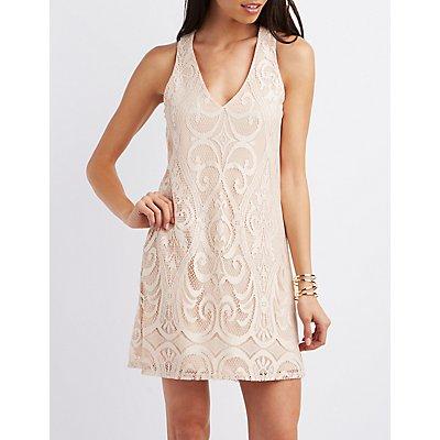 Cut-Out Lace Shift Dress