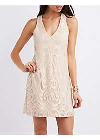 Cut-Out Lace Shift Dress