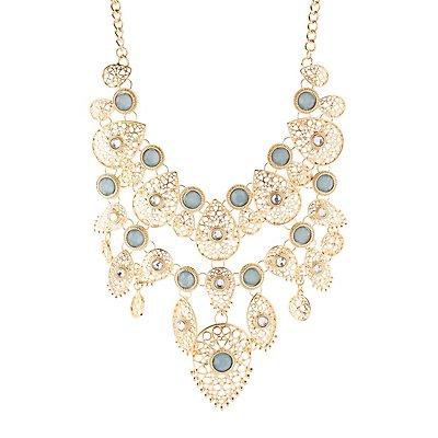 Gemstones & Filigree Bib Necklace