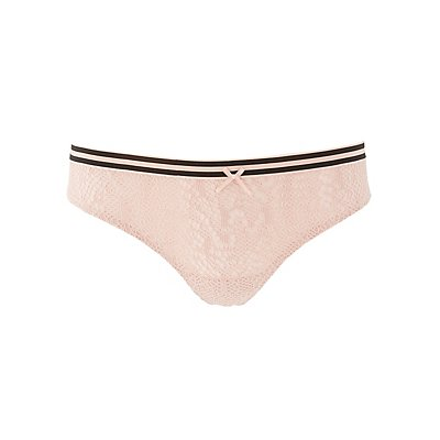 Striped-Band Lace Caged Back Thong