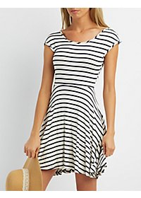Striped Cinch Back Skater Dress