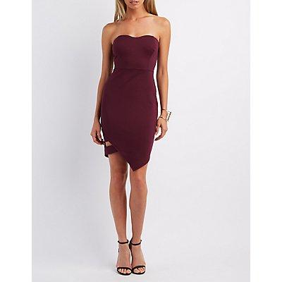 Strapless Asymmetrical Bodycon Dress