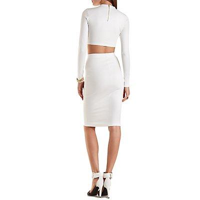 Long Sleeve Crop Top & Midi Skirt Hook-Up