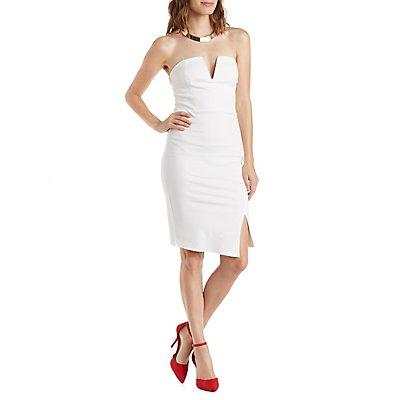Asymmetrical Strapless Bodycon Dress