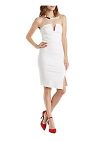 Asymmetrical Strapless Bodycon Dress