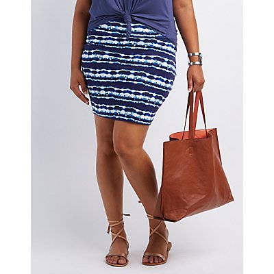 Plus Size Printed Bodycon Mini Skirt