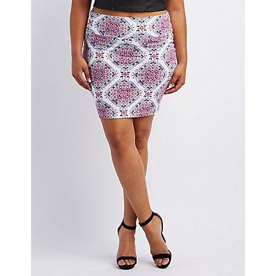 Plus Size Printed Bodycon Mini Skirt