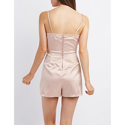 Surplice Neck Wrap Front Romper