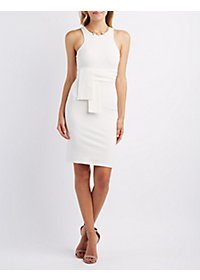 Tie Front Sleeveless Bodycon Dress