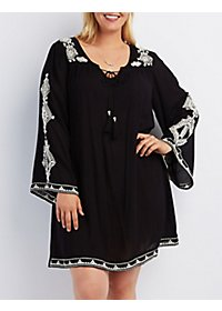 Plus Size Embroidered Shift Dress