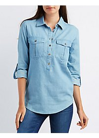 Chambray Button-Up Pocket Shirt