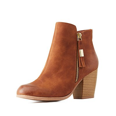 Qupid Block Heel Ankle Booties