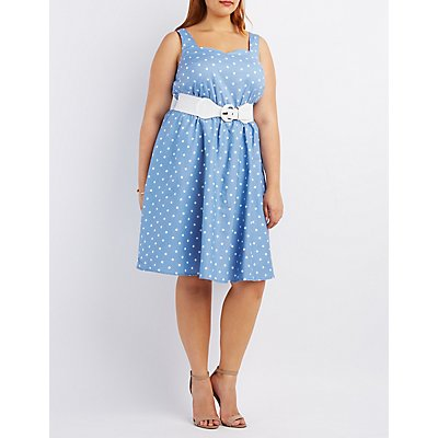 Plus Size Belted Sleeveless Skater Dress