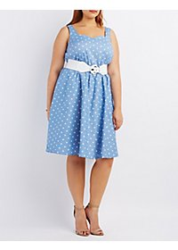 Plus Size Belted Sleeveless Skater Dress