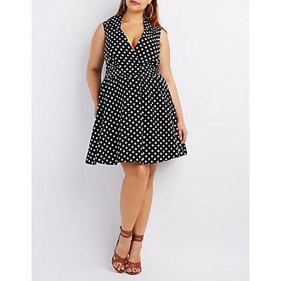 Plus Size Collared Sleeveless Dress