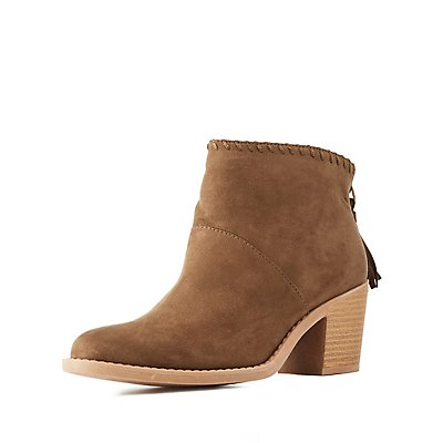 Qupid Tassel Zip Ankle Booties