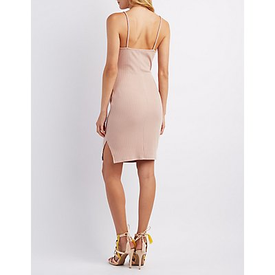 Strappy Ribbed Bodycon Dress