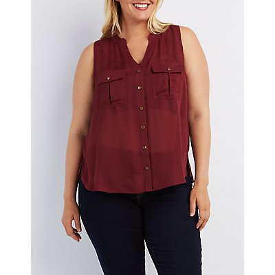 Plus Size Button-Up Pocket Tank