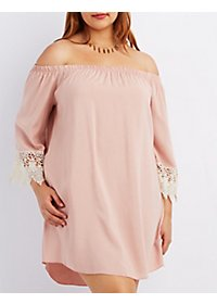 Plus Size Off-the-Shoulder Shift Dress