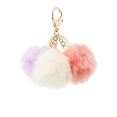 Faux Fur Balls Keychain