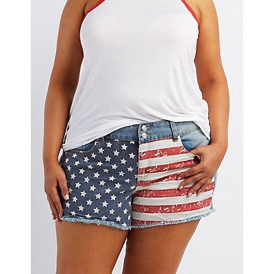 "Plus Size Refuge ""Hi-Rise Cheeky"" Denim Shorts"