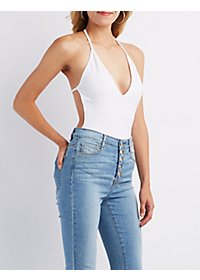 Plunging T-Back Bodysuit