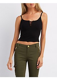 Caged Bust Cropped Ribbed Tank