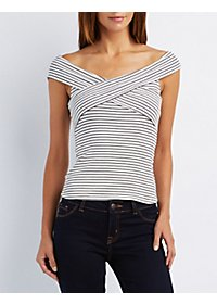 Striped Off-The-Shoulder Ribbed Top