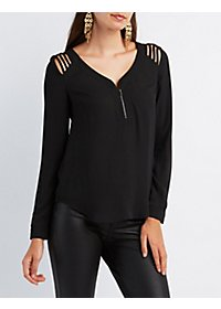 Caged Shoulder Zip-Up Top
