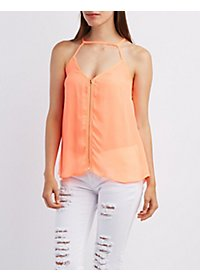 Strappy Zip-Up Tank Top