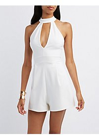 Plunging Mock Neck Romper