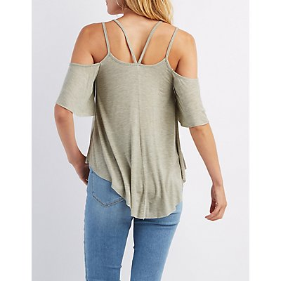 Double Strap Cold Shoulder Top