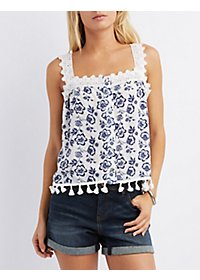 Crochet-Trim Floral Print Tank Top